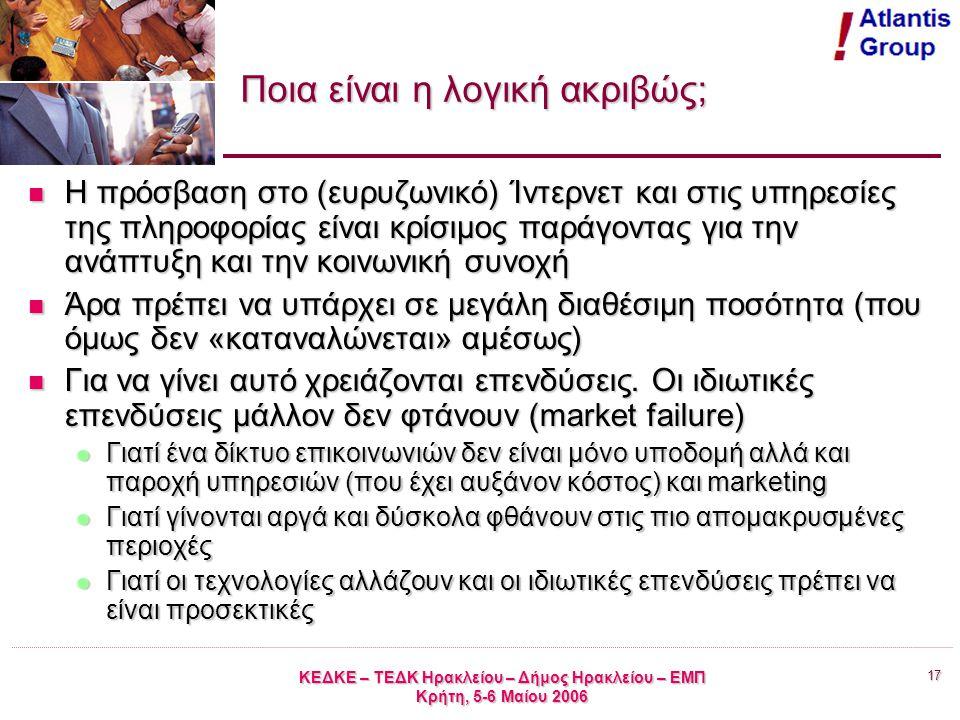 17 ΚΕΔΚΕ – ΤΕΔΚ Ηρακλείου – Δήμος Ηρακλείου – ΕΜΠ Κρήτη, 5-6 Μαίου 2006 Ποια είναι η λογική ακριβώς; Η πρόσβαση στο (ευρυζωνικό) Ίντερνετ και στις υπηρεσίες της πληροφορίας είναι κρίσιμος παράγοντας για την ανάπτυξη και την κοινωνική συνοχή Η πρόσβαση στο (ευρυζωνικό) Ίντερνετ και στις υπηρεσίες της πληροφορίας είναι κρίσιμος παράγοντας για την ανάπτυξη και την κοινωνική συνοχή Άρα πρέπει να υπάρχει σε μεγάλη διαθέσιμη ποσότητα (που όμως δεν «καταναλώνεται» αμέσως) Άρα πρέπει να υπάρχει σε μεγάλη διαθέσιμη ποσότητα (που όμως δεν «καταναλώνεται» αμέσως) Για να γίνει αυτό χρειάζονται επενδύσεις.