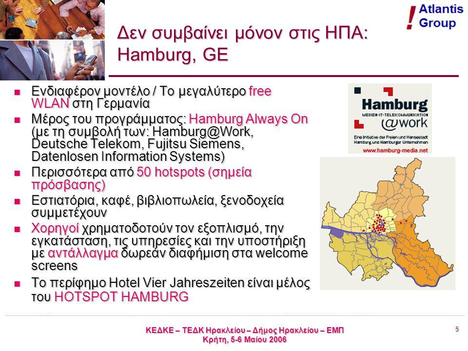 5 ΚΕΔΚΕ – ΤΕΔΚ Ηρακλείου – Δήμος Ηρακλείου – ΕΜΠ Κρήτη, 5-6 Μαίου 2006 Δεν συμβαίνει μόνον στις ΗΠΑ: Hamburg, GE Ενδιαφέρον μοντέλο / Το μεγαλύτερο free WLAN στη Γερμανία Ενδιαφέρον μοντέλο / Το μεγαλύτερο free WLAN στη Γερμανία Μέρος του προγράμματος: Hamburg Always On (με τη συμβολή των: Hamburg@Work, Deutsche Telekom, Fujitsu Siemens, Datenlosen Information Systems) Μέρος του προγράμματος: Hamburg Always On (με τη συμβολή των: Hamburg@Work, Deutsche Telekom, Fujitsu Siemens, Datenlosen Information Systems) Περισσότερα από 50 hotspots (σημεία πρόσβασης) Περισσότερα από 50 hotspots (σημεία πρόσβασης) Εστιατόρια, καφέ, βιβλιοπωλεία, ξενοδοχεία συμμετέχουν Εστιατόρια, καφέ, βιβλιοπωλεία, ξενοδοχεία συμμετέχουν Χορηγοί χρηματοδοτούν τον εξοπλισμό, την εγκατάσταση, τις υπηρεσίες και την υποστήριξη με αντάλλαγμα δωρεάν διαφήμιση στα welcome screens Χορηγοί χρηματοδοτούν τον εξοπλισμό, την εγκατάσταση, τις υπηρεσίες και την υποστήριξη με αντάλλαγμα δωρεάν διαφήμιση στα welcome screens To περίφημο Hotel Vier Jahreszeiten είναι μέλος του HOTSPOT HAMBURG To περίφημο Hotel Vier Jahreszeiten είναι μέλος του HOTSPOT HAMBURG
