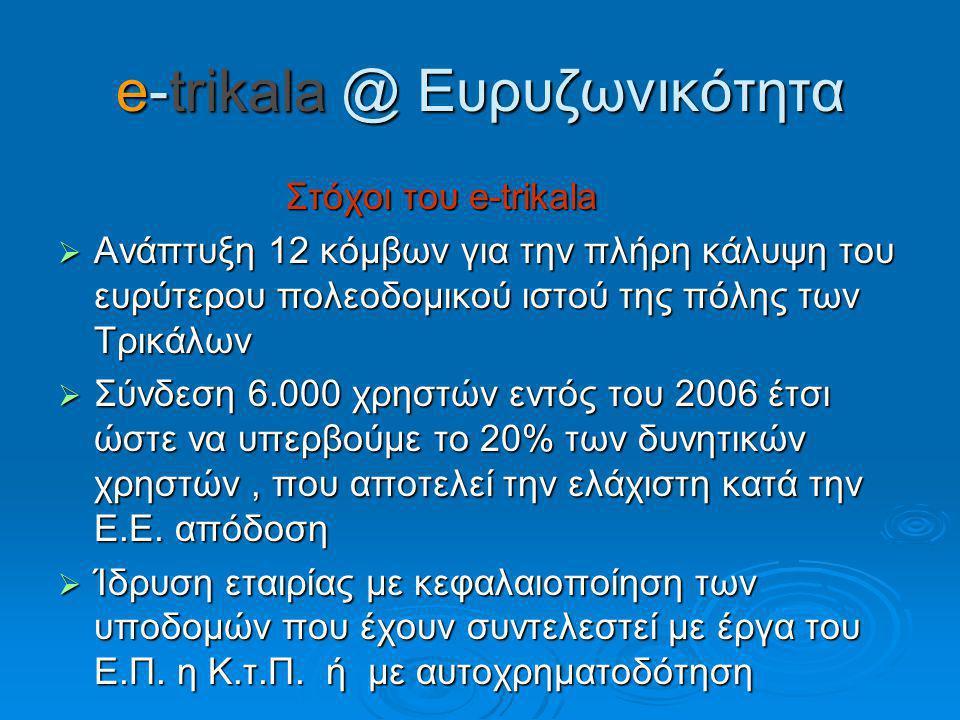 e-trikala @ Ευρυζωνικότητα Στόχοι του e-trikala Στόχοι του e-trikala  Ανάπτυξη 12 κόμβων για την πλήρη κάλυψη του ευρύτερου πολεοδομικού ιστού της πόλης των Τρικάλων  Σύνδεση 6.000 χρηστών εντός του 2006 έτσι ώστε να υπερβούμε το 20% των δυνητικών χρηστών, που αποτελεί την ελάχιστη κατά την Ε.Ε.