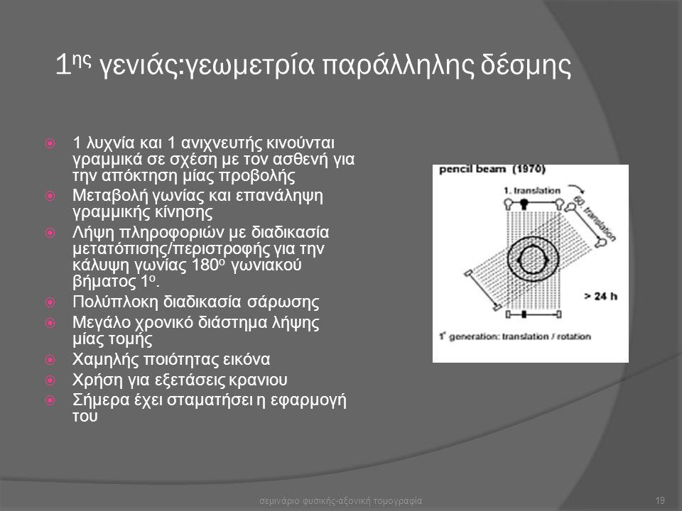 1 ης γενιάς:γεωμετρία παράλληλης δέσμης  1 λυχνία και 1 ανιχνευτής κινούνται γραμμικά σε σχέση με τον ασθενή για την απόκτηση μίας προβολής  Μεταβολ