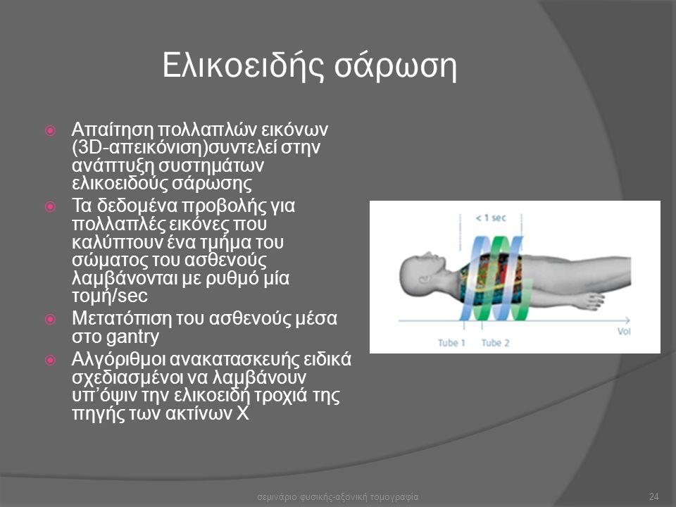 Ελικοειδής σάρωση  Απαίτηση πολλαπλών εικόνων (3D-απεικόνιση)συντελεί στην ανάπτυξη συστημάτων ελικοειδούς σάρωσης  Τα δεδομένα προβολής για πολλαπλ