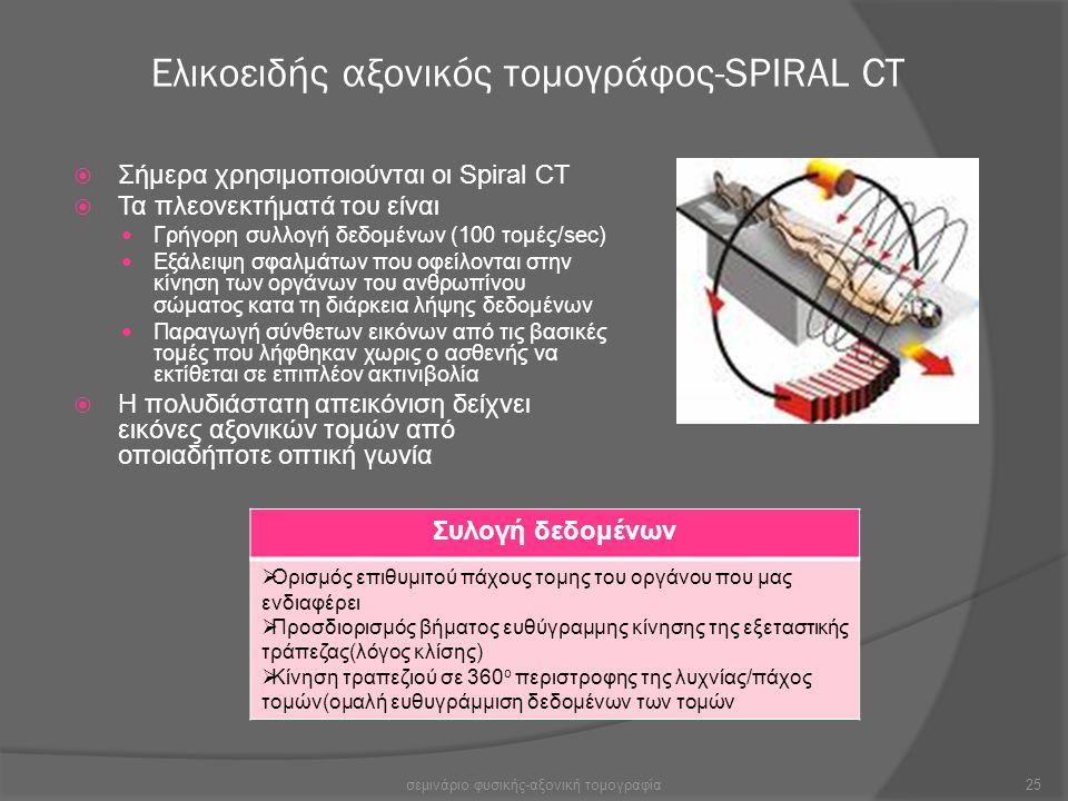 Ελικοειδής αξονικός τομογράφος-SPIRAL CT  Σήμερα χρησιμοποιούνται οι Spiral CT  Τα πλεονεκτήματά του είναι Γρήγορη συλλογή δεδομένων (100 τομές/sec)