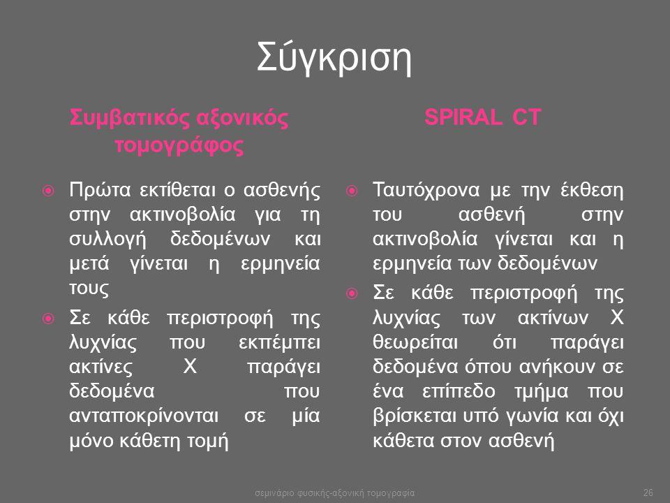 Σύγκριση Συμβατικός αξονικός τομογράφος SPIRAL CT  Πρώτα εκτίθεται ο ασθενής στην ακτινοβολία για τη συλλογή δεδομένων και μετά γίνεται η ερμηνεία το