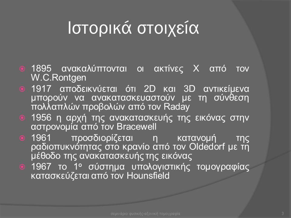 Ιστορικά στοιχεία  1895 ανακαλύπτονται οι ακτίνες Χ από τον W.C.Rontgen  1917 αποδεικνύεται ότι 2D και 3D αντικείμενα μπορούν να ανακατασκευαστούν μ