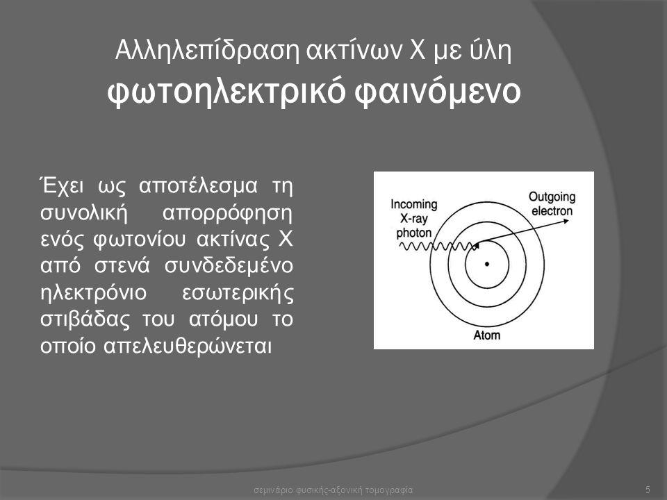 Αλληλεπίδραση ακτίνων Χ με ύλη φωτοηλεκτρικό φαινόμενο Έχει ως αποτέλεσμα τη συνολική απορρόφηση ενός φωτονίου ακτίνας Χ από στενά συνδεδεμένο ηλεκτρό