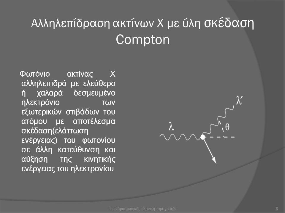 Αλληλεπίδραση ακτίνων Χ με ύλη σκέδαση Compton Φωτόνιο ακτίνας Χ αλληλεπιδρά με ελεύθερο ή χαλαρά δεσμευμένο ηλεκτρόνιο των εξωτερικών στιβάδων του ατ