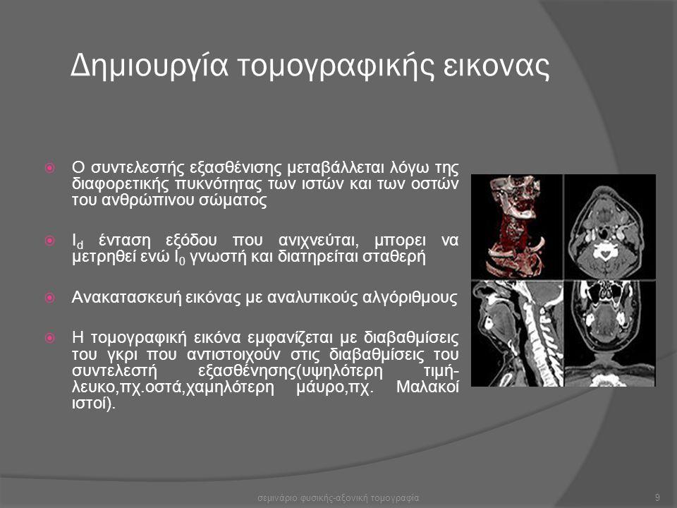 Δημιουργία τομογραφικής εικονας  Ο συντελεστής εξασθένισης μεταβάλλεται λόγω της διαφορετικής πυκνότητας των ιστών και των οστών του ανθρώπινου σώματ