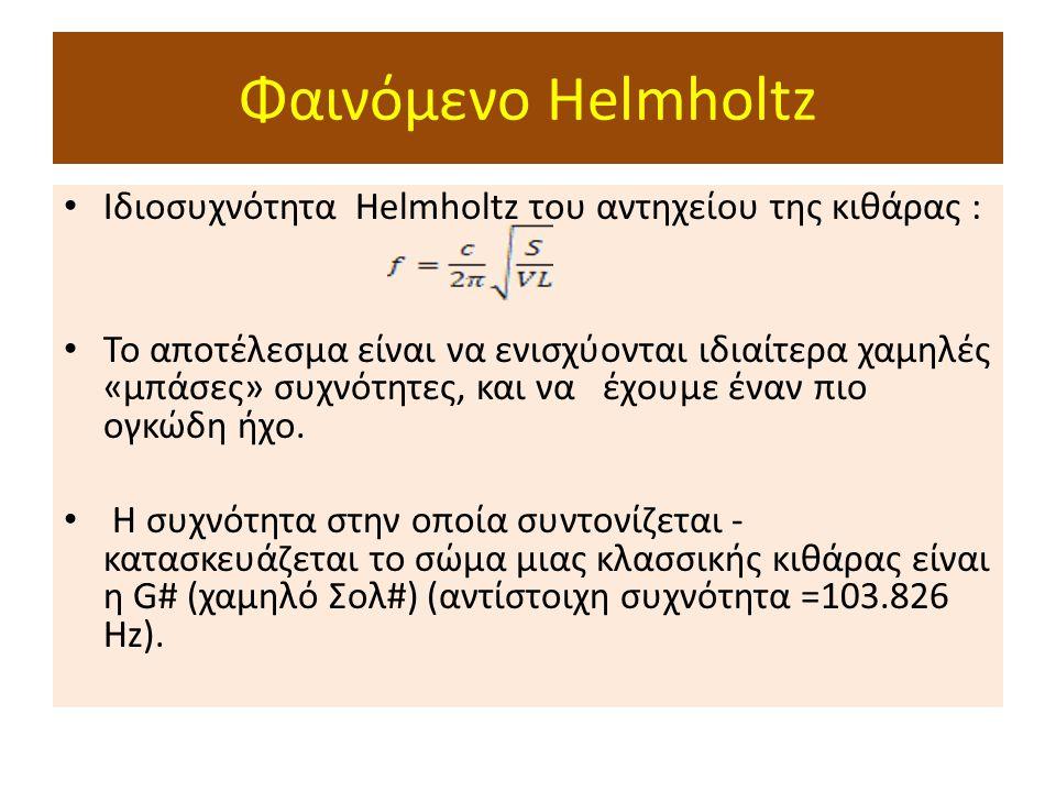 Φαινόμενο Helmholtz Ιδιοσυχνότητα Helmholtz του αντηχείου της κιθάρας : Το αποτέλεσμα είναι να ενισχύονται ιδιαίτερα χαμηλές «μπάσες» συχνότητες, και να έχουμε έναν πιο ογκώδη ήχο.