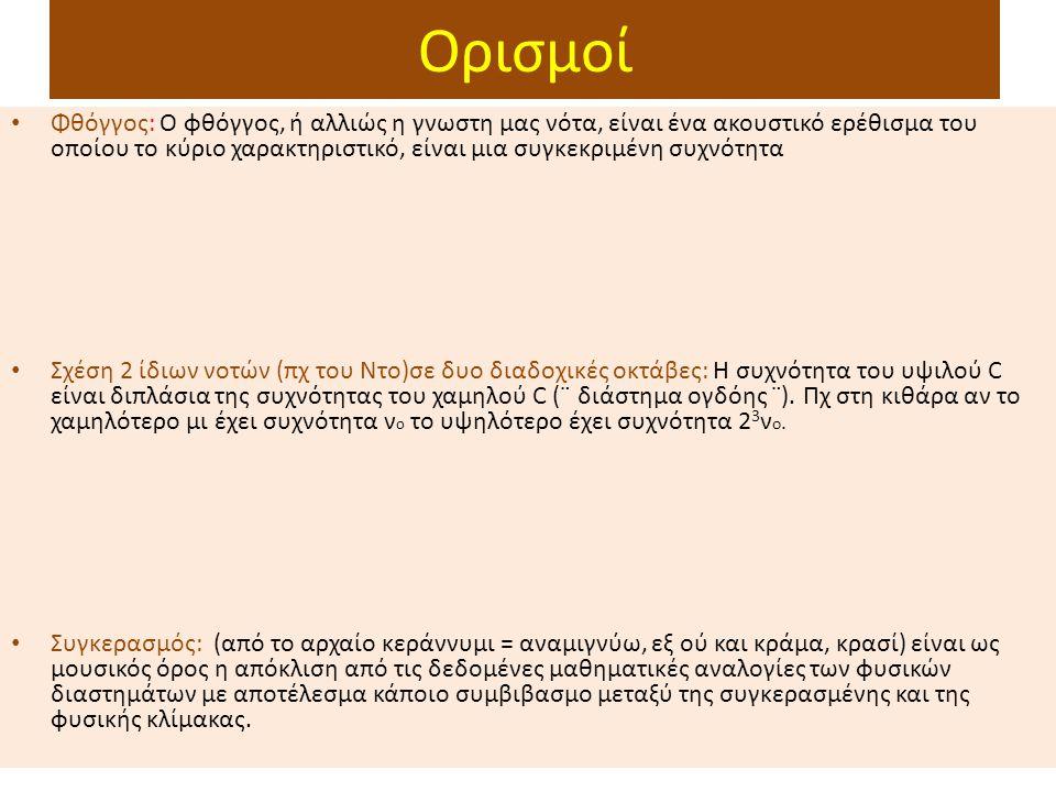 Ορισμοί Φθόγγος: O φθόγγος, ή αλλιώς η γνωστη μας νότα, είναι ένα ακουστικό ερέθισμα του οποίου το κύριο χαρακτηριστικό, είναι μια συγκεκριμένη συχνότητα Σχέση 2 ίδιων νοτών (πχ του Ντο)σε δυο διαδοχικές οκτάβες: Η συχνότητα του υψιλού C είναι διπλάσια της συχνότητας του χαμηλού C (¨ διάστημα ογδόης ¨).