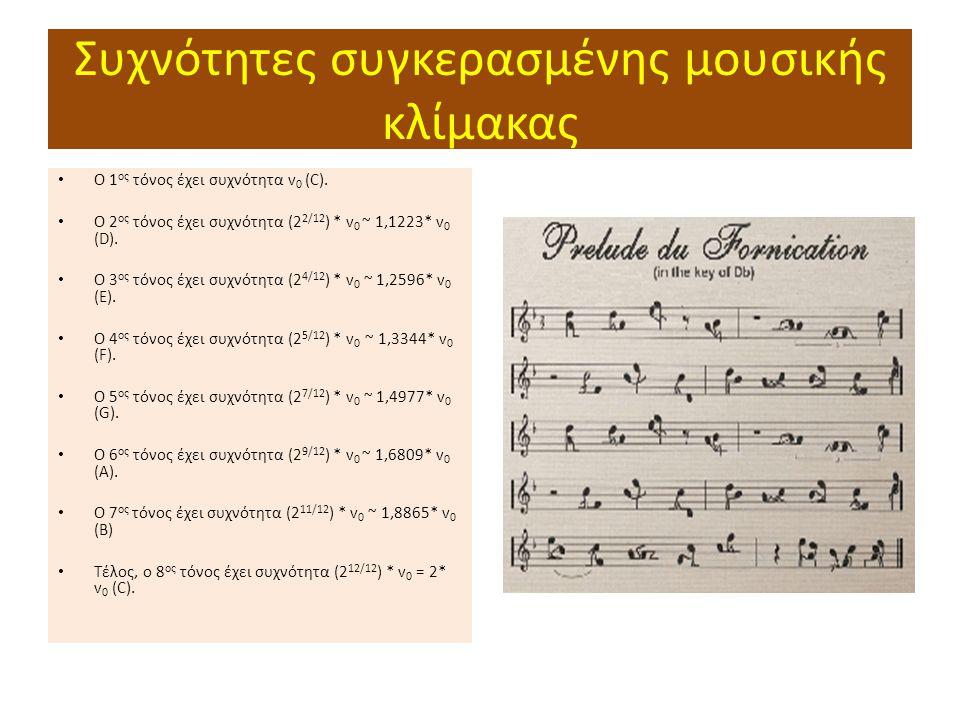 Συχνότητες συγκερασμένης μουσικής κλίμακας Ο 1 ος τόνος έχει συχνότητα v 0 (C).