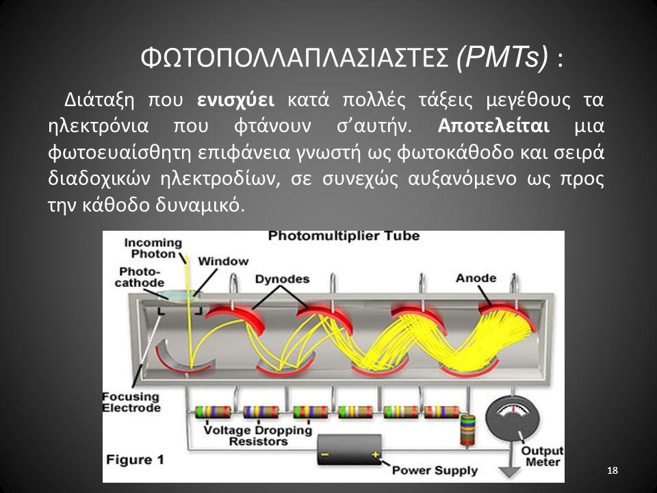 ΦΩΤΟΠΟΛΛΑΠΛΑΣΙΑΣΤΕΣ (PMTs) : Διάταξη που ενισχύει κατά πολλές τάξεις μεγέθους τα ηλεκτρόνια που φτάνουν σ'αυτήν. Αποτελείται μια φωτοευαίσθητη επιφάνε