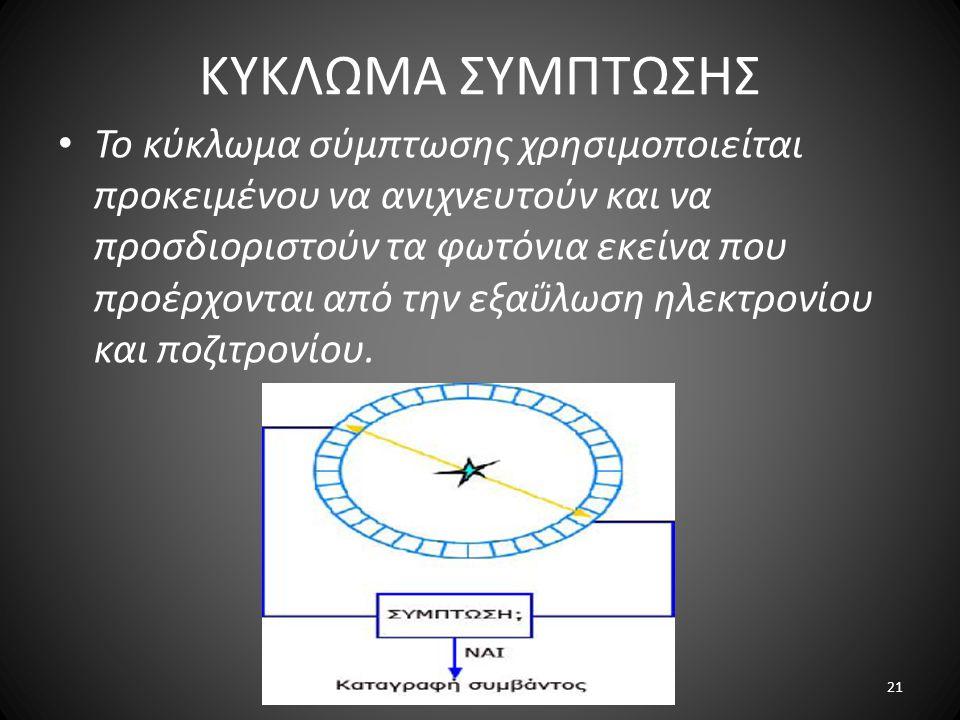 ΚΥΚΛΩΜΑ ΣΥΜΠΤΩΣΗΣ Το κύκλωμα σύμπτωσης χρησιμοποιείται προκειμένου να ανιχνευτούν και να προσδιοριστούν τα φωτόνια εκείνα που προέρχονται από την εξαΰλωση ηλεκτρονίου και ποζιτρονίου.