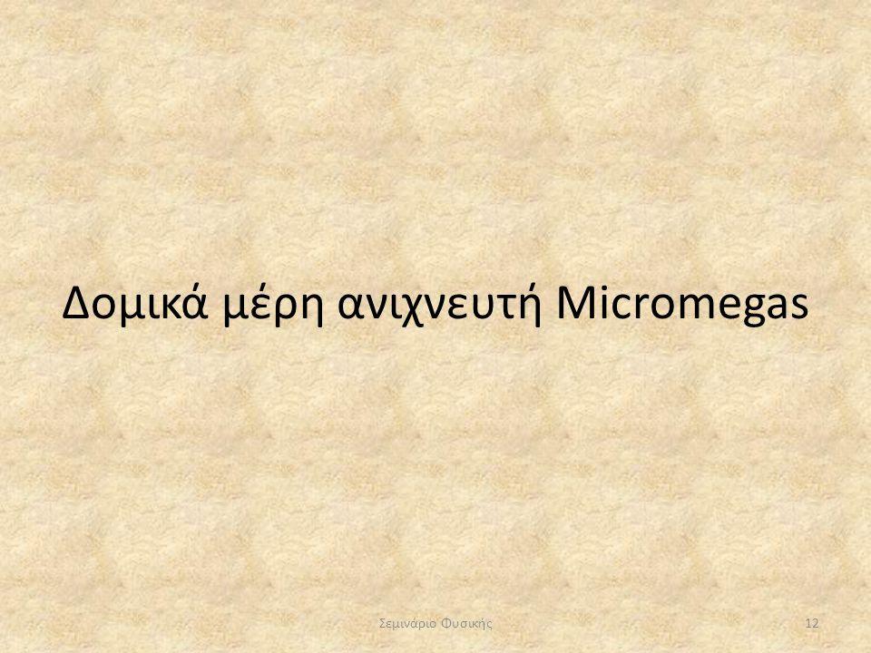 Δομικά μέρη ανιχνευτή Micromegas Σεμινάριο Φυσικής12