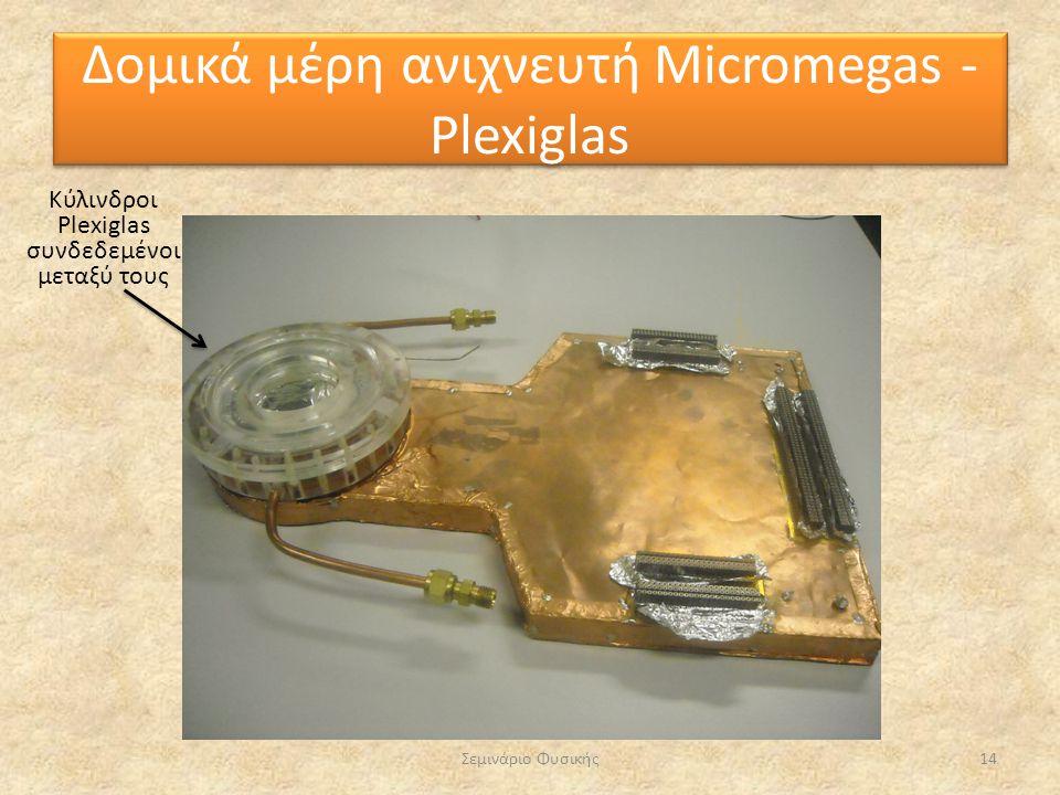Σεμινάριο Φυσικής14 Κύλινδροι Plexiglas συνδεδεμένοι μεταξύ τους Δομικά μέρη ανιχνευτή Micromegas - Plexiglas