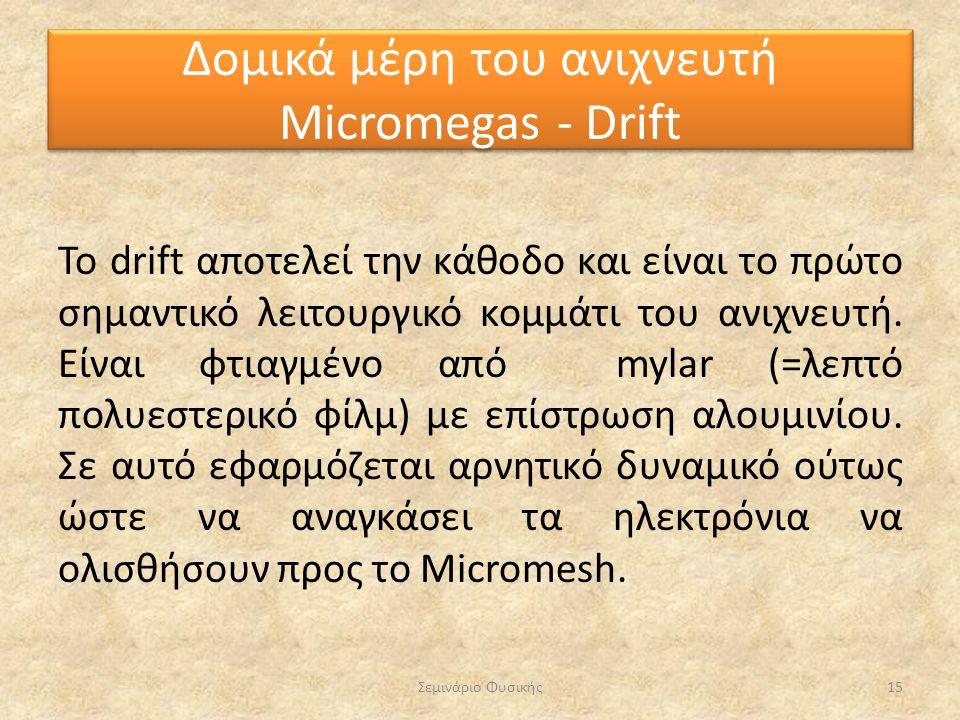 Το drift αποτελεί την κάθοδο και είναι το πρώτο σημαντικό λειτουργικό κομμάτι του ανιχνευτή. Είναι φτιαγμένο από mylar (=λεπτό πολυεστερικό φίλμ) με ε