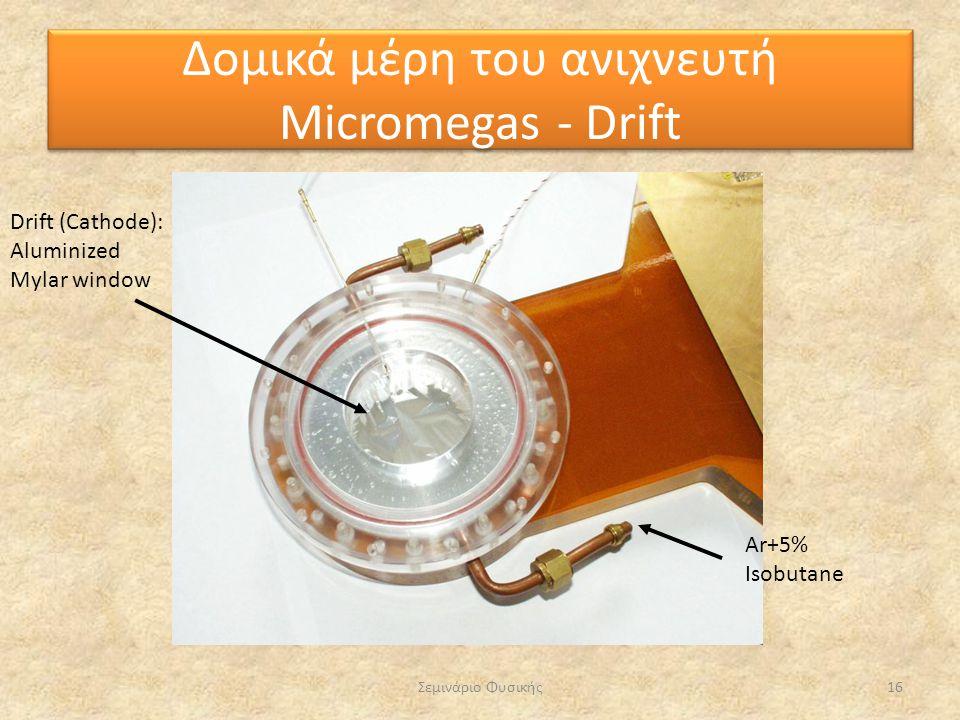 Σεμινάριο Φυσικής16 Drift (Cathode): Aluminized Mylar window Ar+5% Isobutane Δομικά μέρη του ανιχνευτή Micromegas - Drift