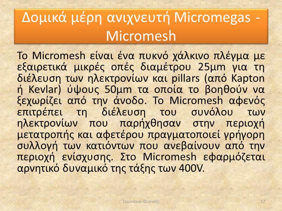 To Micromesh είναι ένα πυκνό χάλκινο πλέγμα με εξαιρετικά μικρές οπές διαμέτρου 25μm για τη διέλευση των ηλεκτρονίων και pillars (από Kapton ή Kevlar)