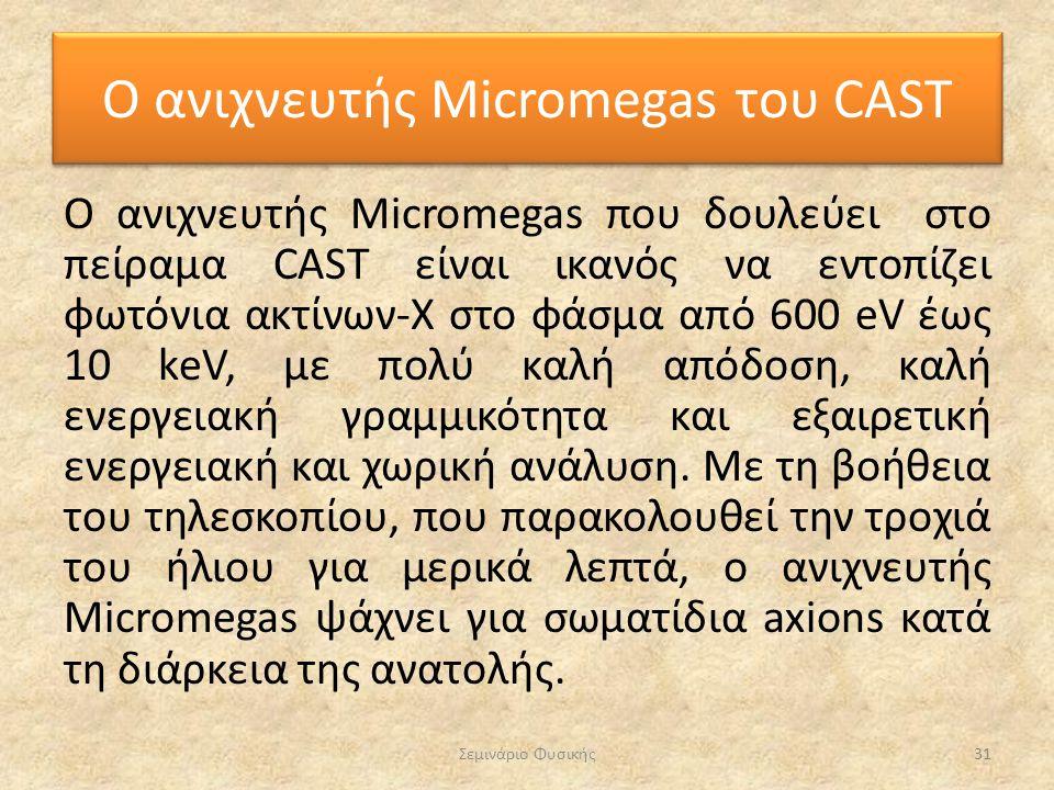 Ο ανιχνευτής Micromegas που δουλεύει στο πείραμα CAST είναι ικανός να εντοπίζει φωτόνια ακτίνων-Χ στο φάσμα από 600 eV έως 10 keV, με πολύ καλή απόδοσ