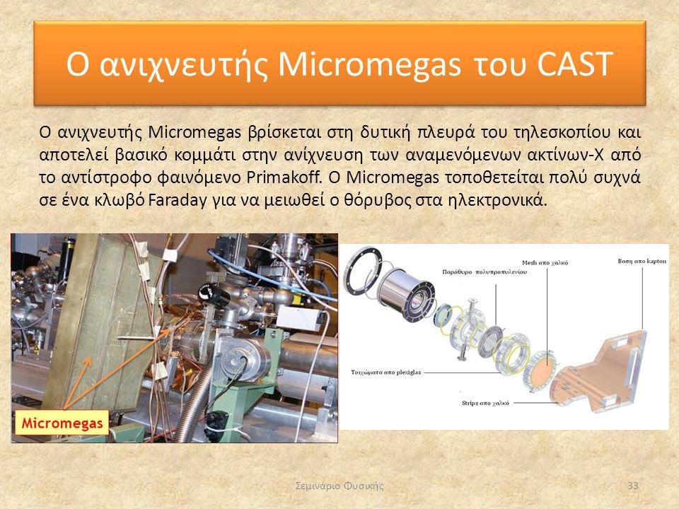 Σεμινάριο Φυσικής33 Ο ανιχνευτής Micromegas του CAST Ο ανιχνευτής Micromegas βρίσκεται στη δυτική πλευρά του τηλεσκοπίου και αποτελεί βασικό κομμάτι σ