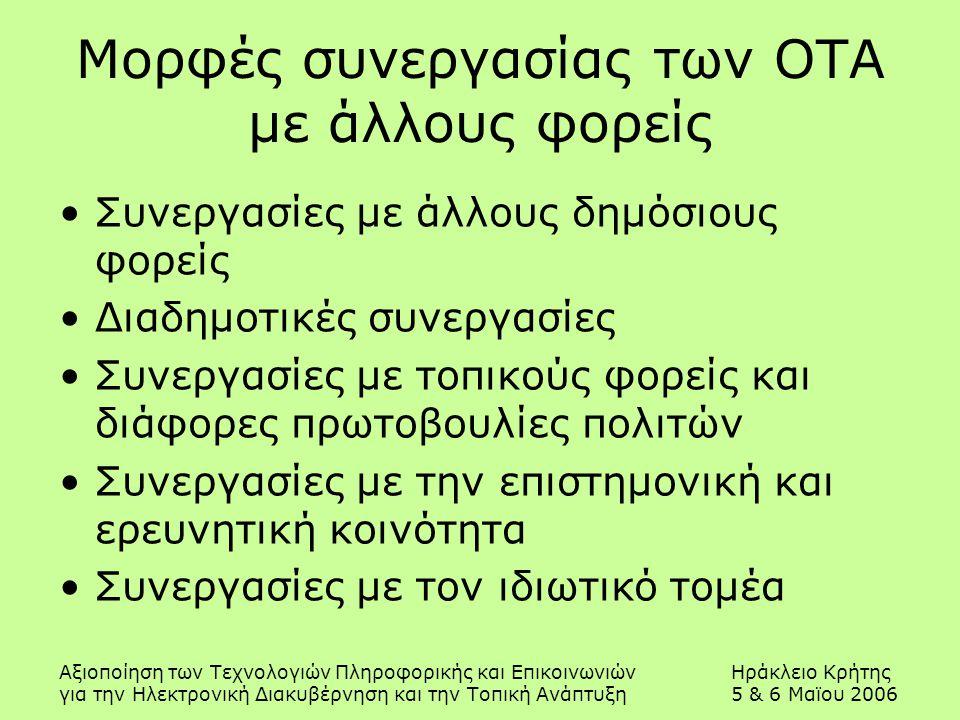 Αξιοποίηση των Τεχνολογιών Πληροφορικής και ΕπικοινωνιώνΗράκλειο Κρήτης για την Ηλεκτρονική Διακυβέρνηση και την Τοπική Ανάπτυξη5 & 6 Μαϊου 2006 Μορφές συνεργασίας των ΟΤΑ με άλλους φορείς Συνεργασίες με άλλους δημόσιους φορείς Διαδημοτικές συνεργασίες Συνεργασίες με τοπικούς φορείς και διάφορες πρωτοβουλίες πολιτών Συνεργασίες με την επιστημονική και ερευνητική κοινότητα Συνεργασίες με τον ιδιωτικό τομέα
