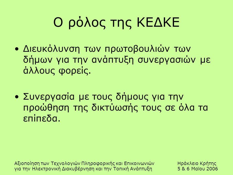 Αξιοποίηση των Τεχνολογιών Πληροφορικής και ΕπικοινωνιώνΗράκλειο Κρήτης για την Ηλεκτρονική Διακυβέρνηση και την Τοπική Ανάπτυξη5 & 6 Μαϊου 2006 Ο ρόλος της ΚΕΔΚΕ Διευκόλυνση των πρωτοβουλιών των δήμων για την ανάπτυξη συνεργασιών με άλλους φορείς.