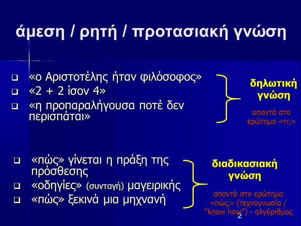 2 άμεση / ρητή / προτασιακή γνώση  «ο Αριστοτέλης ήταν φιλόσοφος»  «2 + 2 ίσον 4»  «η προπαραλήγουσα ποτέ δεν περισπάται» δηλωτική γνώση απαντά στο