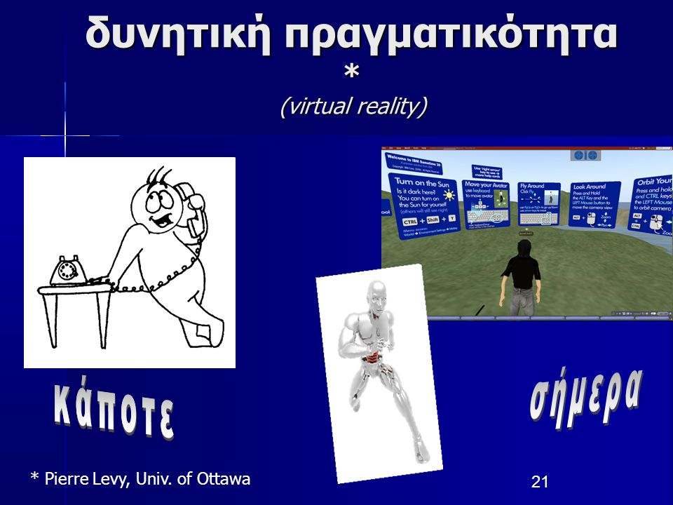 21 δυνητική πραγματικότητα * (virtual reality) * Pierre Levy, Univ. of Ottawa