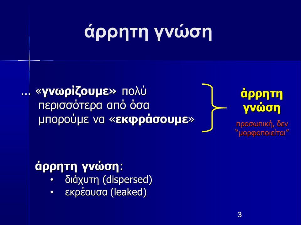 3 άρρητη γνώση... «γνωρίζουμε» πολύ περισσότερα από όσα μπορούμε να «εκφράσουμε» άρρητη γνώση: διάχυτη (dispersed) διάχυτη (dispersed) εκρέουσα (leake