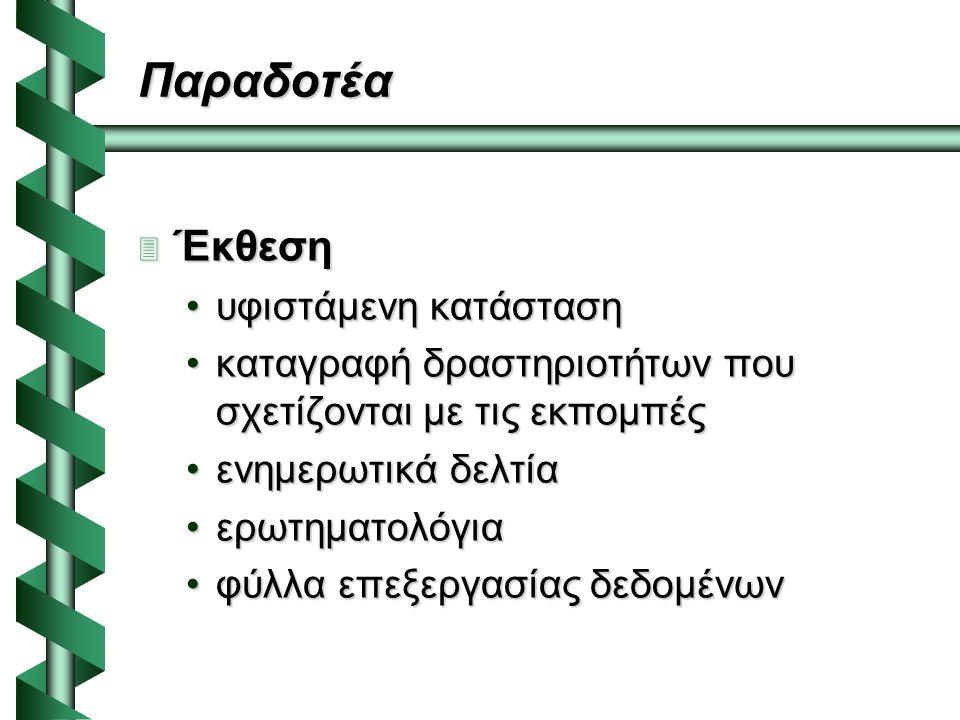 Παραδοτέα  Έκθεση υφιστάμενη κατάστασηυφιστάμενη κατάσταση καταγραφή δραστηριοτήτων που σχετίζονται με τις εκπομπέςκαταγραφή δραστηριοτήτων που σχετίζονται με τις εκπομπές ενημερωτικά δελτίαενημερωτικά δελτία ερωτηματολόγιαερωτηματολόγια φύλλα επεξεργασίας δεδομένωνφύλλα επεξεργασίας δεδομένων