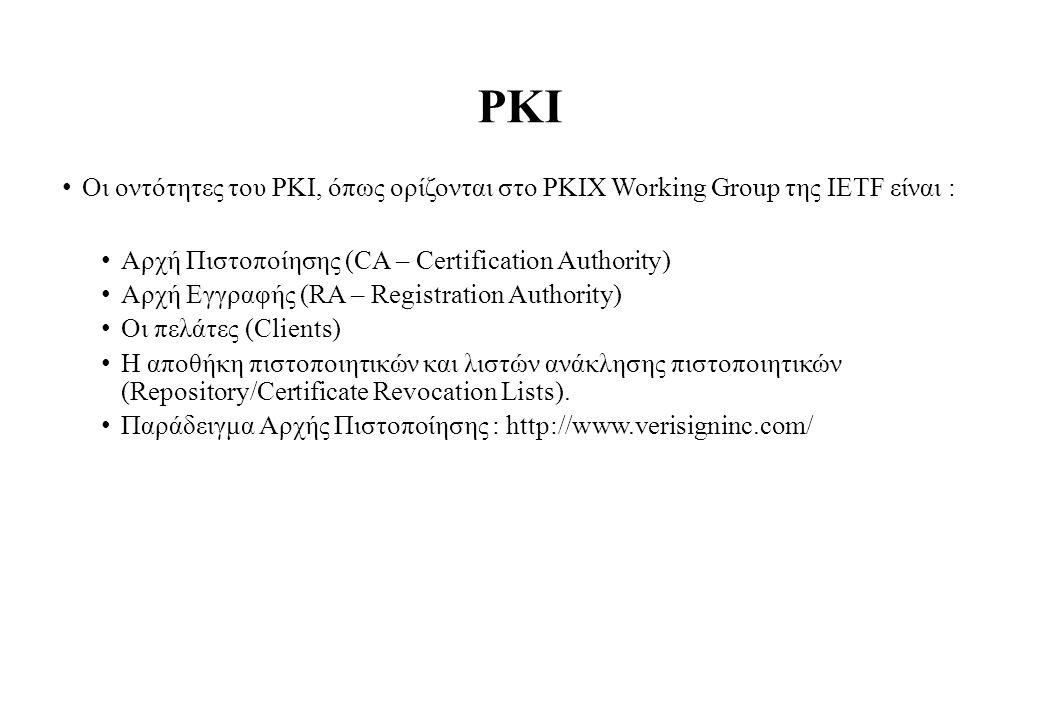 PKI Οι οντότητες του PKI, όπως ορίζονται στο PKIX Working Group της IETF είναι : Αρχή Πιστοποίησης (CA – Certification Authority) Αρχή Εγγραφής (RA – Registration Authority) Οι πελάτες (Clients) Η αποθήκη πιστοποιητικών και λιστών ανάκλησης πιστοποιητικών (Repository/Certificate Revocation Lists).