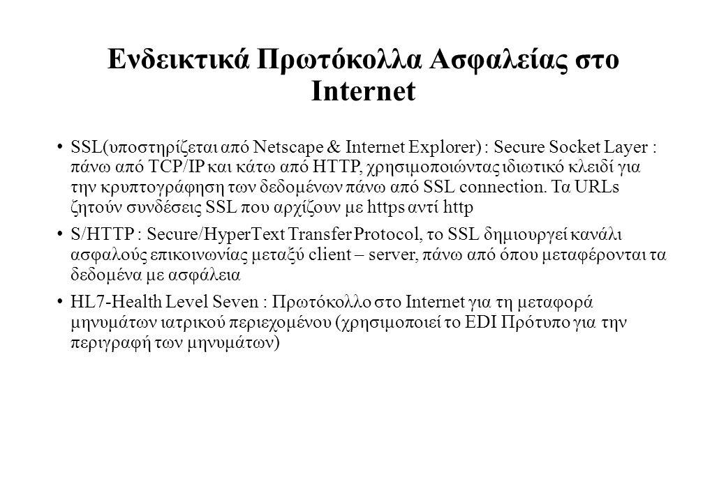 Ενδεικτικά Πρωτόκολλα Ασφαλείας στο Internet SSL(υποστηρίζεται από Netscape & Internet Explorer) : Secure Socket Layer : πάνω από TCP/IP και κάτω από HTTP, χρησιμοποιώντας ιδιωτικό κλειδί για την κρυπτογράφηση των δεδομένων πάνω από SSL connection.