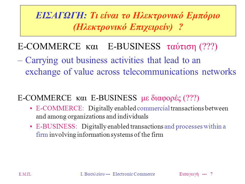 Ε.Μ.Π. Ι. Βασιλείου --- Electronic Commerce Εισαγωγή --- 48 Supply-Chain Management