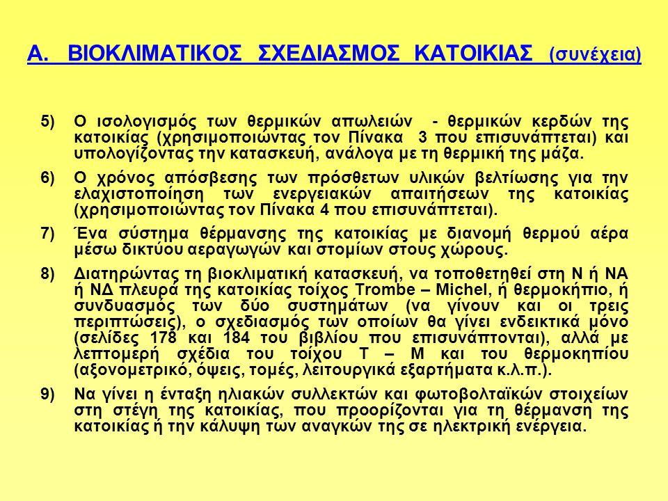 ΠΙΝΑΚΑΣ 1:ΘΕΡΜΙΚΕΣ ΑΠΩΛΕΙΕΣ (Q Τ ) ΚΑΤΟΙΚΙΑΣ ΑΠΟ ΑΓΩΓΙΜΟΤΗΤΑ ΚΑΙ ΑΕΡΙΣΜΟ ΚΑΙ ΚΟΣΤΟΣ ΜΟΝΩΤΙΚΩΝ ΥΛΙΚΩΝ ΚΑΙ ΔΙΠΛΩΝ ΥΑΛΟΣΤΑΣΙΩΝ