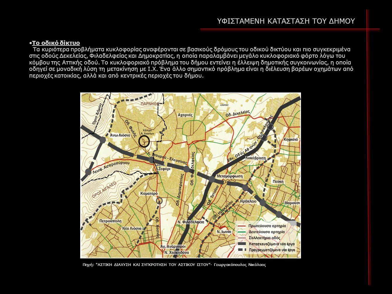 Το οδικό δίκτυο Τα κυριότερα προβλήματα κυκλοφορίας αναφέρονται σε βασικούς δρόμους του οδικού δικτύου και πιο συγκεκριμένα στις οδούς Δεκελείας, Φιλαδελφείας και Δημοκρατίας, η οποία παραλαμβάνει μεγάλο κυκλοφοριακό φόρτο λόγω του κόμβου της Αττικής οδού.