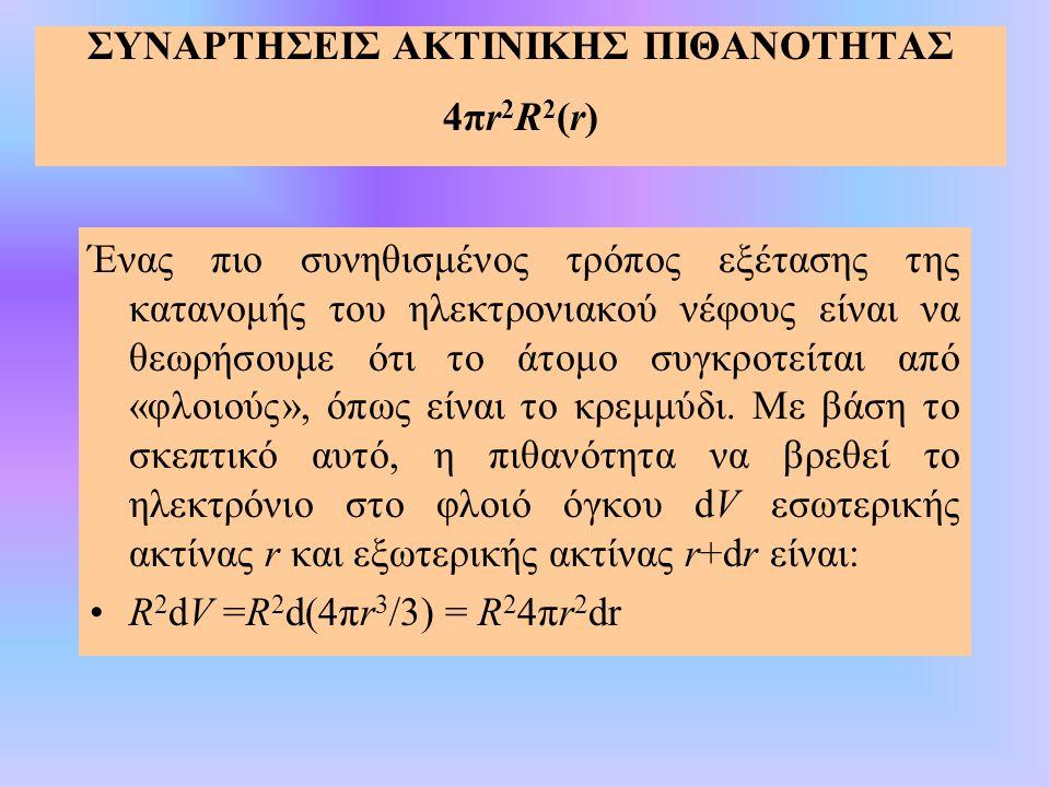 ΣΥΝΑΡΤΗΣΕΙΣ ΑΚΤΙΝΙΚΗΣ ΠΙΘΑΝΟΤΗΤΑΣ 4πr 2 R 2 (r) Ένας πιο συνηθισμένος τρόπος εξέτασης της κατανομής του ηλεκτρονιακού νέφους είναι να θεωρήσουμε ότι τ