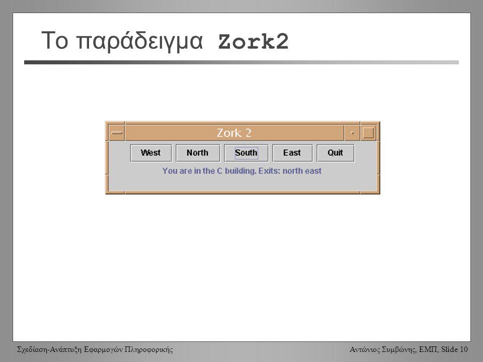 Σχεδίαση-Ανάπτυξη Εφαρμογών Πληροφορικής Αντώνιος Συμβώνης, ΕΜΠ, Slide 10 Το παράδειγμα Zork2