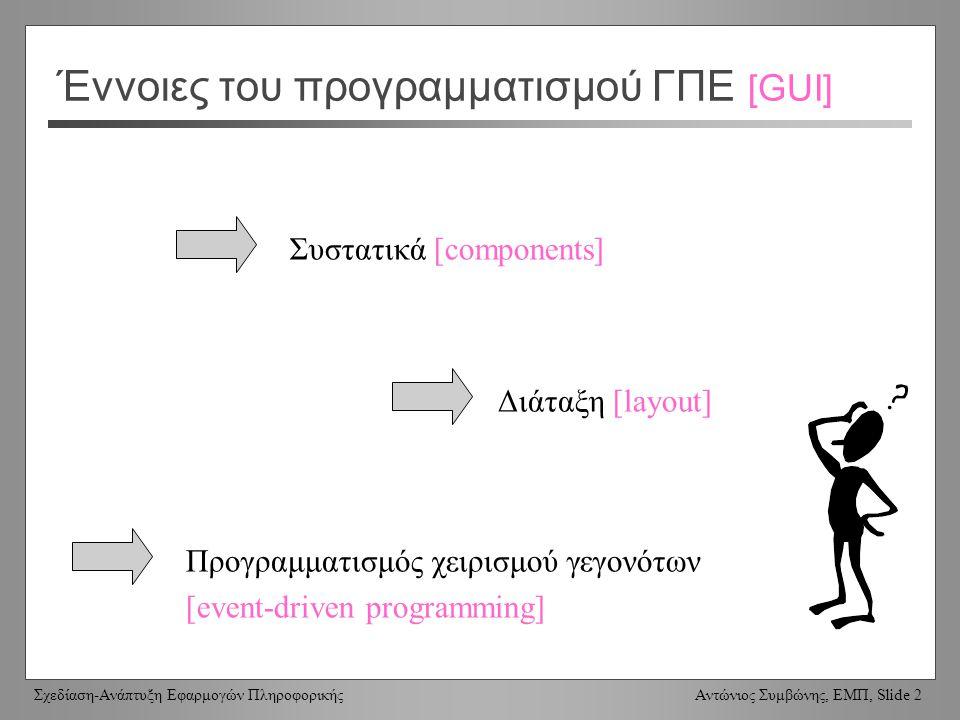 Σχεδίαση-Ανάπτυξη Εφαρμογών Πληροφορικής Αντώνιος Συμβώνης, ΕΜΠ, Slide 2 Έννοιες του προγραμματισμού ΓΠΕ [GUI] Συστατικά [components] Διάταξη [layout] Προγραμματισμός χειρισμού γεγονότων [event-driven programming]
