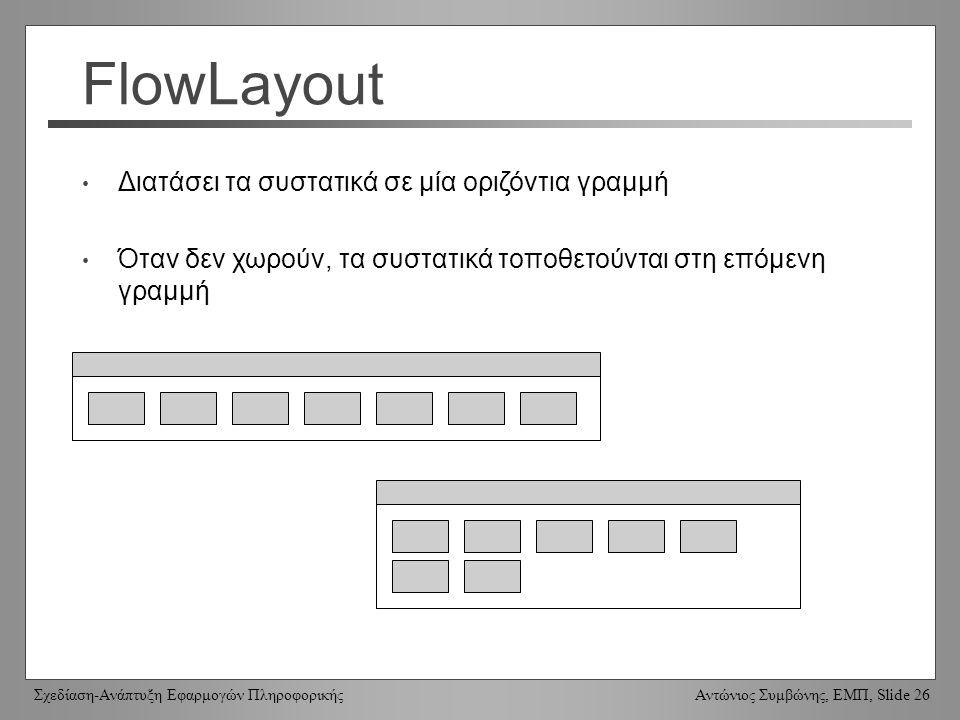 Σχεδίαση-Ανάπτυξη Εφαρμογών Πληροφορικής Αντώνιος Συμβώνης, ΕΜΠ, Slide 26 FlowLayout Διατάσει τα συστατικά σε μία οριζόντια γραμμή Όταν δεν χωρούν, τα