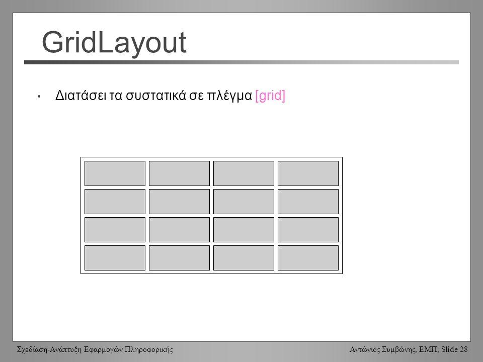 Σχεδίαση-Ανάπτυξη Εφαρμογών Πληροφορικής Αντώνιος Συμβώνης, ΕΜΠ, Slide 28 GridLayout Διατάσει τα συστατικά σε πλέγμα [grid]