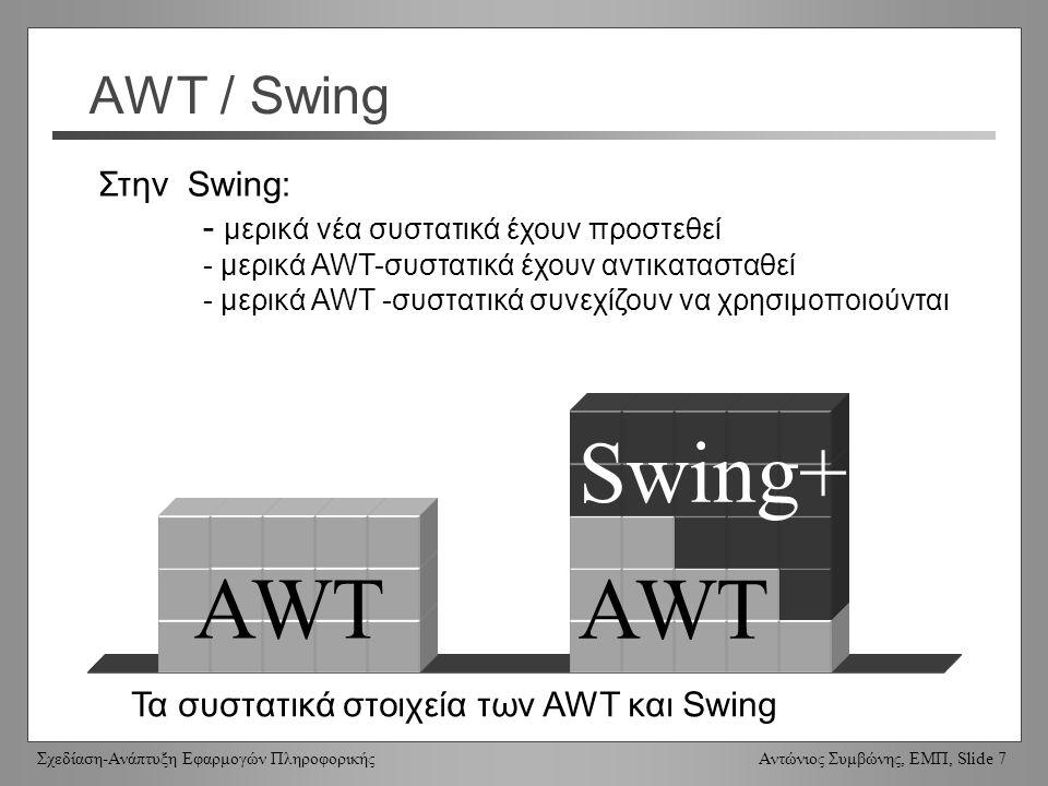 Σχεδίαση-Ανάπτυξη Εφαρμογών Πληροφορικής Αντώνιος Συμβώνης, ΕΜΠ, Slide 7 AWT / Swing Swing+ AWT Τα συστατικά στοιχεία των AWT και Swing Στην Swing: - μερικά νέα συστατικά έχουν προστεθεί - μερικά AWT-συστατικά έχουν αντικατασταθεί - μερικά AWT -συστατικά συνεχίζουν να χρησιμοποιούνται