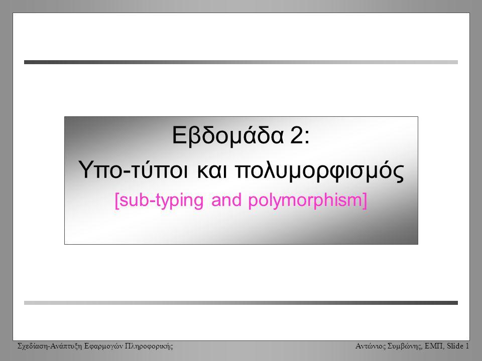 Σχεδίαση-Ανάπτυξη Εφαρμογών Πληροφορικής Αντώνιος Συμβώνης, ΕΜΠ, Slide 1 Εβδομάδα 2: Υπο-τύποι και πολυμορφισμός [sub-typing and polymorphism]