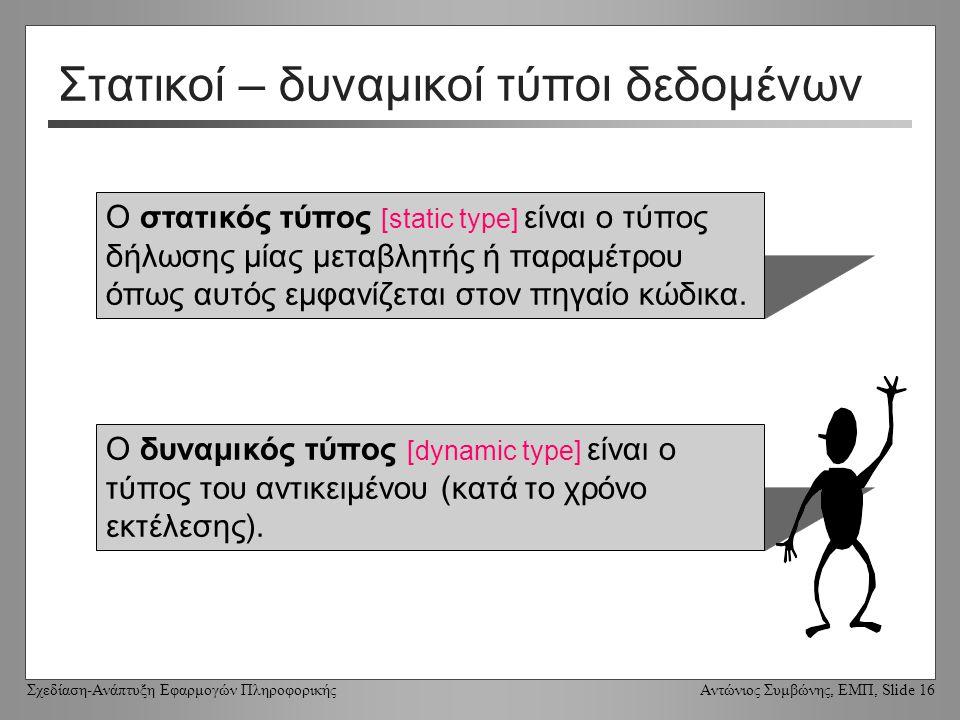 Σχεδίαση-Ανάπτυξη Εφαρμογών Πληροφορικής Αντώνιος Συμβώνης, ΕΜΠ, Slide 16 Στατικοί – δυναμικοί τύποι δεδομένων Ο στατικός τύπος [static type] είναι ο τύπος δήλωσης μίας μεταβλητής ή παραμέτρου όπως αυτός εμφανίζεται στον πηγαίο κώδικα.
