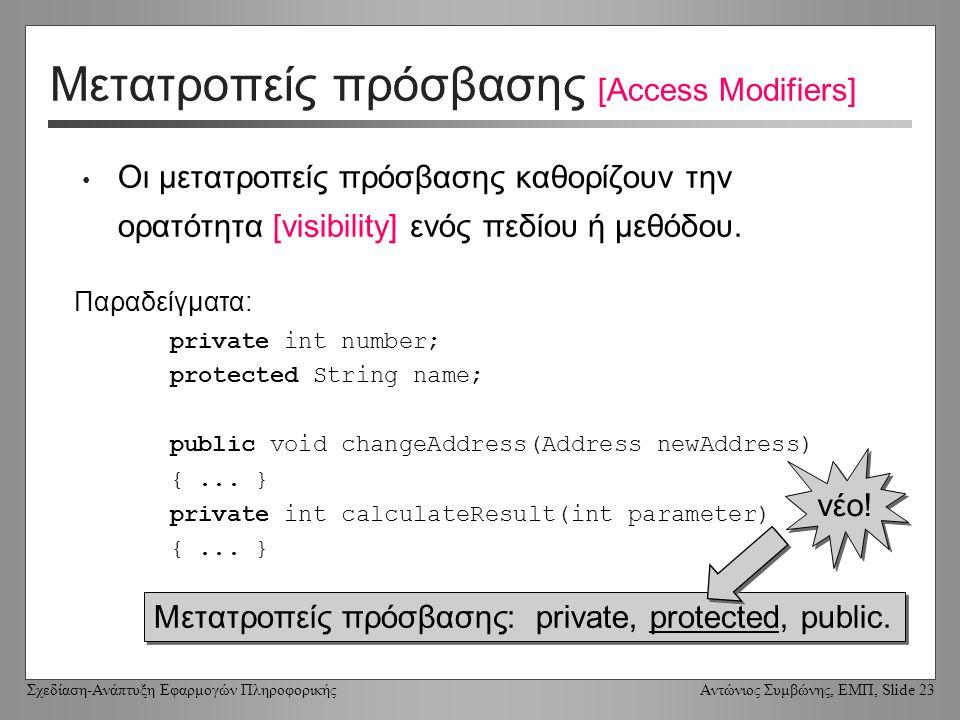 Σχεδίαση-Ανάπτυξη Εφαρμογών Πληροφορικής Αντώνιος Συμβώνης, ΕΜΠ, Slide 23 Μετατροπείς πρόσβασης [Access Modifiers] Οι μετατροπείς πρόσβασης καθορίζουν την ορατότητα [visibility] ενός πεδίου ή μεθόδου.