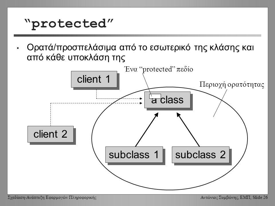 Σχεδίαση-Ανάπτυξη Εφαρμογών Πληροφορικής Αντώνιος Συμβώνης, ΕΜΠ, Slide 26 protected Ορατά/προσπελάσιμα από το εσωτερικό της κλάσης και από κάθε υποκλάση της a class client 1 subclass 1 subclass 2 client 2 Περιοχή ορατότητας Ένα protected πεδίο