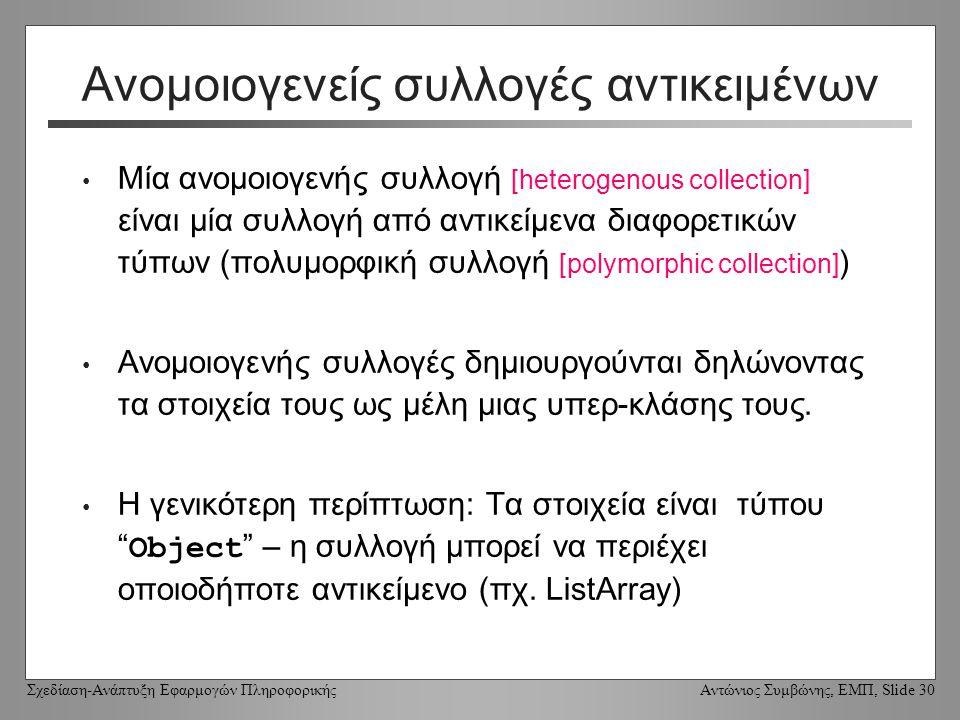 Σχεδίαση-Ανάπτυξη Εφαρμογών Πληροφορικής Αντώνιος Συμβώνης, ΕΜΠ, Slide 30 Ανομοιογενείς συλλογές αντικειμένων Μία ανομοιογενής συλλογή [heterogenous collection] είναι μία συλλογή από αντικείμενα διαφορετικών τύπων (πολυμορφική συλλογή [polymorphic collection] ) Ανομοιογενής συλλογές δημιουργούνται δηλώνοντας τα στοιχεία τους ως μέλη μιας υπερ-κλάσης τους.