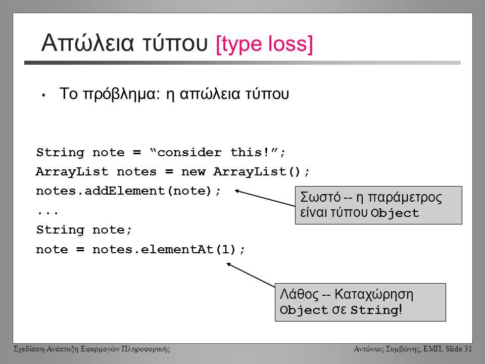 Σχεδίαση-Ανάπτυξη Εφαρμογών Πληροφορικής Αντώνιος Συμβώνης, ΕΜΠ, Slide 31 Απώλεια τύπου [type loss] Το πρόβλημα: η απώλεια τύπου String note = consider this! ; ArrayList notes = new ArrayList(); notes.addElement(note);...