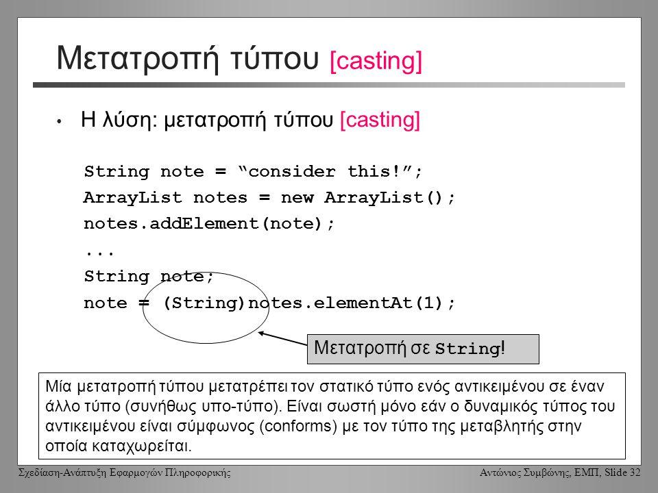 Σχεδίαση-Ανάπτυξη Εφαρμογών Πληροφορικής Αντώνιος Συμβώνης, ΕΜΠ, Slide 32 Μετατροπή τύπου [casting] Η λύση: μετατροπή τύπου [casting] String note = consider this! ; ArrayList notes = new ArrayList(); notes.addElement(note);...