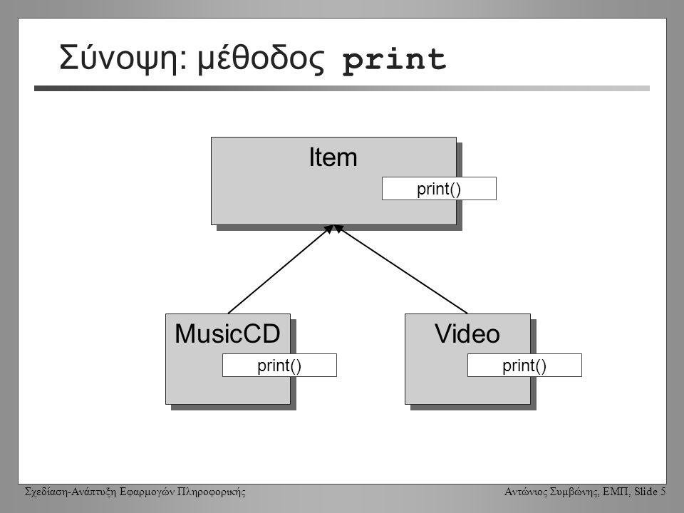 Σχεδίαση-Ανάπτυξη Εφαρμογών Πληροφορικής Αντώνιος Συμβώνης, ΕΜΠ, Slide 5 Σύνοψη: μέθοδος print Item MusicCD Video print()