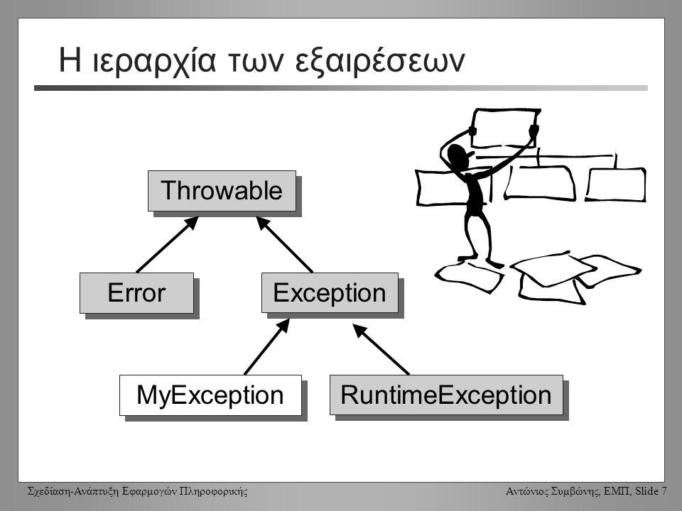 Σχεδίαση-Ανάπτυξη Εφαρμογών Πληροφορικής Αντώνιος Συμβώνης, ΕΜΠ, Slide 7 Η ιεραρχία των εξαιρέσεων Throwable Error RuntimeException Exception MyException