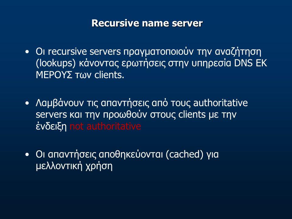 Recursive name server Οι recursive servers πραγματοποιούν την αναζήτηση (lookups) κάνοντας ερωτήσεις στην υπηρεσία DNS ΕΚ ΜΕΡΟΥΣ των clients.